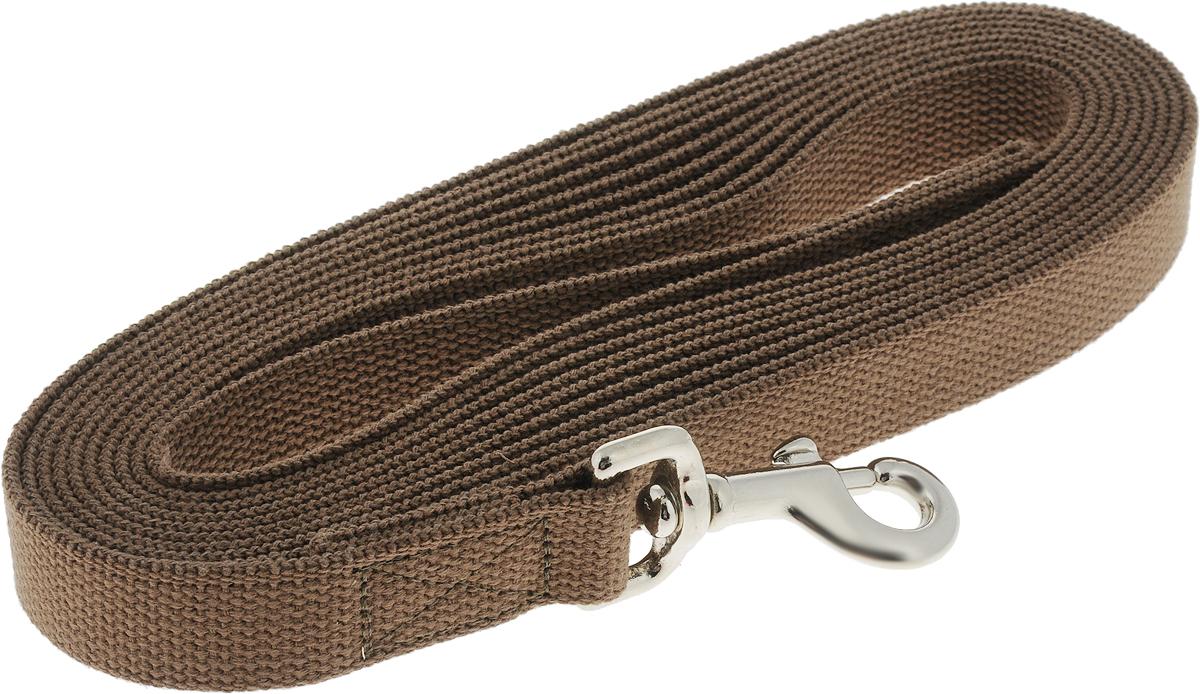 Поводок брезентовый V.I.Pet, для собак, цвет: коричневый, до 200 кг, 5 м поводок рулетка freego гепард для собак до 12 кг размер s цвет бежевый коричневый 3 м