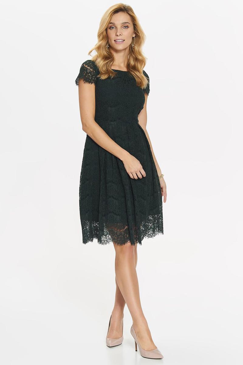 Платье Top Secret, цвет: темно-зеленый. SSU2027CZ. Размер 36 (44)SSU2027CZПлатье Top Secret выполнено из качественного материала. Модель с круглым вырезом горловины и короткими рукавами сзади застегивается на застежку-молнию.