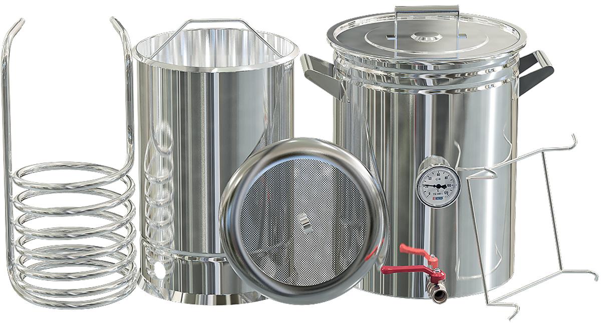 Добрый жар пивоварня, 35 лПивоварня Добрый Жар 35 литровКлассическая пивоварня предназначена для приготовления натурального солодового пива в домашних условиях по традиционной технологии. Комплект включает все необходимое для изготовления затора с последующей быстрой фильтрацией и охлаждением сусла, что является залогом получения высококачественного продукта.Преимущества классической пивоварни• Все компоненты изготовлены из высококачественной пищевой нержавеющей стали, которая устойчива к коррозионным воздействиям и проста в уходе• Сусловарочный котел с толщиной стенок 1,5 мм оснащен удобными рукоятками, крышкой со специальным крючком для крепления на стенке емкости во время перемешивания сусла, а также краном для его слива по окончании приготовления• Термокомпенсаторное дно толщиной 2 мм – может использоваться на плитах всех типов, включая индукционные, и обеспечивает правильное распределение и передачу тепла во время варки сусла, а также исключает вероятность деформации• Удобный заторный бак емкостью 22 литра на 6 кг солода с подставкой-упором, которая крепится непосредственно на сусловарочный котел, со съемной скобой для извлечения и сетчатым фальшдном для отцеживания затора. Сетчатое фальшдно снимается, что облегчает его мытье и чистку после использования• Чиллер большого диаметра 12 мм способствует быстрому охлаждению сусла. Изготовлен из пищевой нержавеющей стали, вода подводится по силиконовому шлангу, который надевается на конусовидные патрубки без использования дополнительных зажимов. Легко моется, не боится коррозионных воздействий• В сусловарочный котел встроен биметаллический термометр для точного контроля температуры во время варки сусла• При хранении пивоварня занимает минимум места, так как все ее компоненты складываются в сусловарочный котелКлассическая пивоварня позволяет получать в домашних условиях натуральное крафтовое пиво, отличается высоким качеством и поставляется с гарантией сроком на 1 год по наиболее выгодной цене. Мы организовываем достав