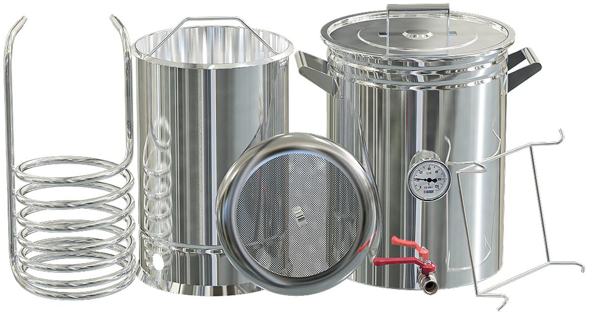 Добрый жар пивоварня, 50 лПивоварня Добрый Жар 50 литровКлассическая пивоварня предназначена для приготовления натурального солодового пива в домашних условиях по традиционной технологии. Комплект включает все необходимое для изготовления затора с последующей быстрой фильтрацией и охлаждением сусла, что является залогом получения высококачественного продукта.Преимущества классической пивоварни• Все компоненты изготовлены из высококачественной пищевой нержавеющей стали, которая устойчива к коррозионным воздействиям и проста в уходе• Сусловарочный котел с толщиной стенок 1,5 мм оснащен удобными рукоятками, крышкой со специальным крючком для крепления на стенке емкости во время перемешивания сусла, а также краном для его слива по окончании приготовления• Термокомпенсаторное дно толщиной 2 мм – может использоваться на плитах всех типов, включая индукционные, и обеспечивает правильное распределение и передачу тепла во время варки сусла, а также исключает вероятность деформации• Удобный заторный бак емкостью 22 литра на 6 кг солода с подставкой-упором, которая крепится непосредственно на сусловарочный котел, со съемной скобой для извлечения и сетчатым фальшдном для отцеживания затора. Сетчатое фальшдно снимается, что облегчает его мытье и чистку после использования• Чиллер большого диаметра 12 мм способствует быстрому охлаждению сусла. Изготовлен из пищевой нержавеющей стали, вода подводится по силиконовому шлангу, который надевается на конусовидные патрубки без использования дополнительных зажимов. Легко моется, не боится коррозионных воздействий• В сусловарочный котел встроен биметаллический термометр для точного контроля температуры во время варки сусла• При хранении пивоварня занимает минимум места, так как все ее компоненты складываются в сусловарочный котелКлассическая пивоварня позволяет получать в домашних условиях натуральное крафтовое пиво, отличается высоким качеством и поставляется с гарантией сроком на 1 год по наиболее выгодной цене. Мы организовываем достав