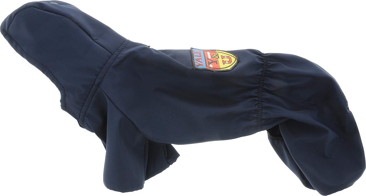 Дождевик прогулочный для собак GLG Эмблема, цвет: темно-синий. Размер LMOS-016-colors-L_эмблема_Прогулочный дождевик для собак GLG выполнен из прочного непромокаемого текстиля. Модель имеет длинные широкие рукава, которые не ограничивают свободу движений. Несъемный капюшон поднимается и фиксируется кнопкой. Дождевик застегивается на животике на кнопки. Пояс и вырез у задних лап дополнены эластичной резинкой, чтобы собака чувствовала себя комфортно. Дождевик украшен эмблемой на спинке. Модель предназначена для собак следующих пород: йорк, шпиц, мальтезе, той пудель, ши-тцу, пекинес, китайская хохлатая, шнауцер.