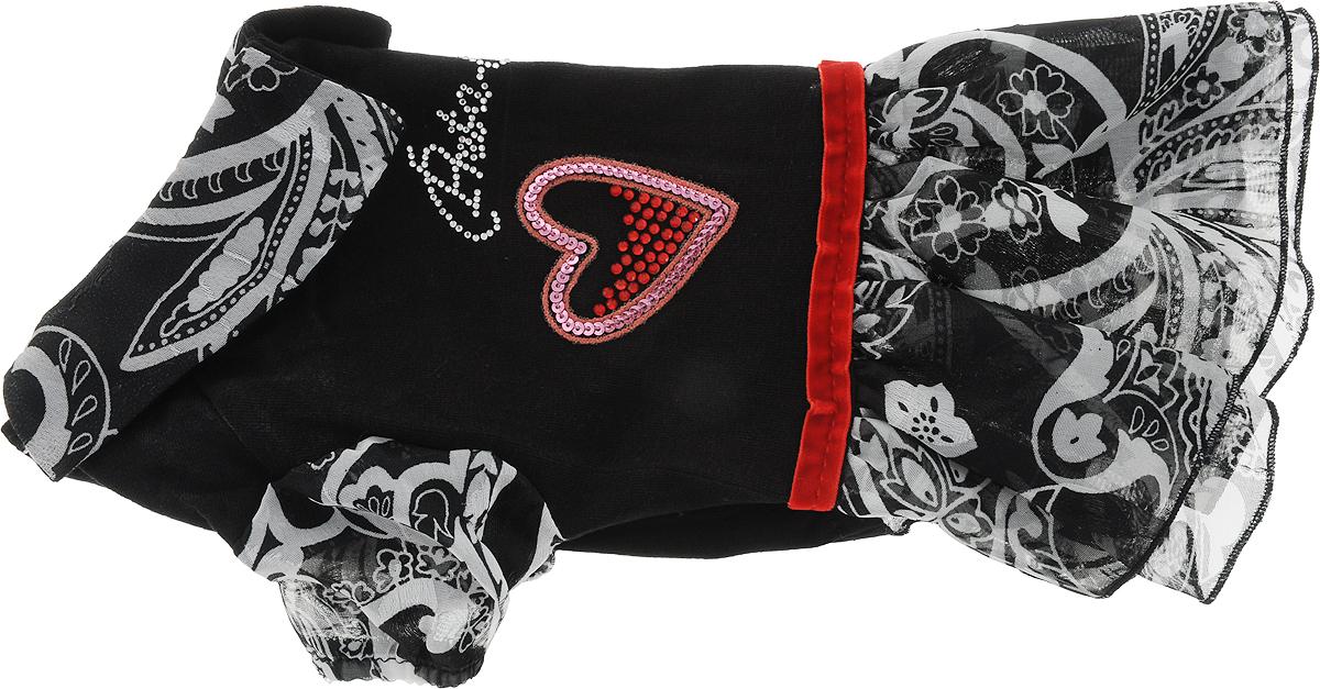 Платье для собак GLG Сердечко, цвет: черный, красный. Размер SMOS-008-BLACK-S_черный с краснымПлатье для собак GLG Сердечко выполнено из высококачественного текстиля и оформлено декоративными вышивками. Короткие рукава не ограничивают свободу движений, и собачка будет чувствовать себя в ней комфортно. Изделие застегивается с помощью кнопок на спине.Модное и невероятно удобное платье защитит вашего питомца от пыли и насекомых на улице, согреет дома или на даче. Длина спины: 23-25 см Объем груди: 31-33 см.