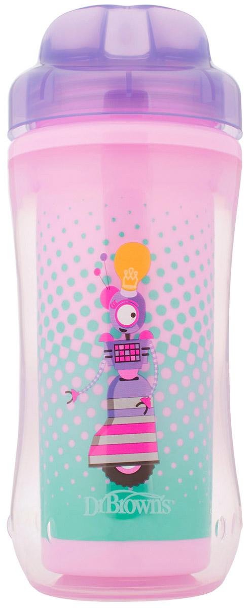 Dr.Brown's Поильник-термочашка от 12 месяцев цвет розовый сиреневый 300 мл термос термочашка haers 200ml