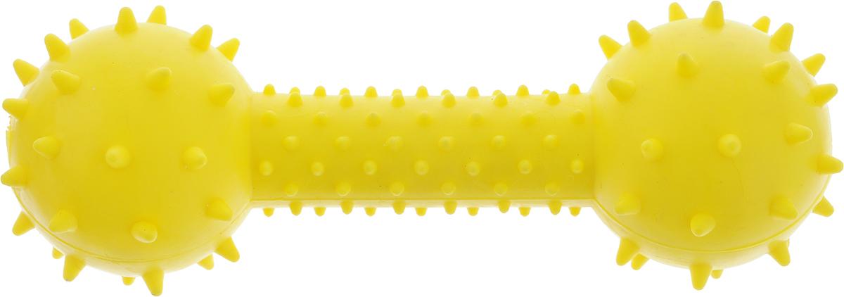 Игрушка для собак Грызлик Ам Гантелька с шипами, цвет: желтый, длина 14,5 смsh-08032MИгрушка для собак Грызлик Ам Гантелька с шипами изготовлена из термопластичной резины, устойчивой кповреждениям. Игрушка поможет занять щенка во время смены зубов, а расшалившаяся взрослая собака не будетгрызть мебель, обувь и другие нужные вещи. Внутри гантельки имеются два звенящих металлических бубенчика.