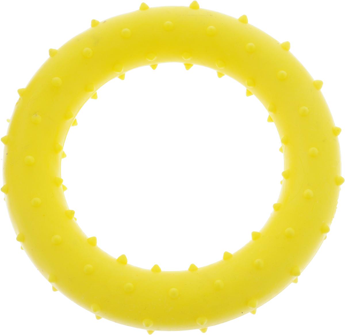 Игрушка для собак Грызлик Ам Кольцо с шипами, цвет: желтый, диаметр 8 см30.GR.007Игрушка для собак Грызлик Ам Кольцо с шипами изготовлена из термопластичной резины, устойчивой к повреждениям. Игрушка поможет занять щенка во время смены зубов, а расшалившаяся взрослая собака не будет грызть мебель, обувь и другие нужные вещи.