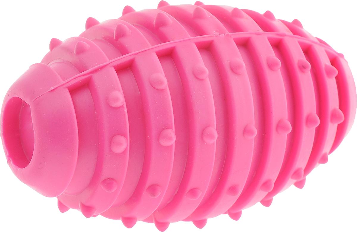 Игрушка для собак Грызлик Ам Мяч регби с шипами, цвет: розовый, длина 11 см30.GR.008Игрушка для собак Грызлик Ам Мяч регби с шипами изготовлена из термопластичной резины, устойчивой к повреждениям. Игрушка поможет занять щенка во время смены зубов, а расшалившаяся взрослая собака не будет грызть мебель, обувь и другие нужные вещи. Внутри игрушки имеется звенящий металлический бубенчик, что вызовет дополнительный интерес вашего питомца.