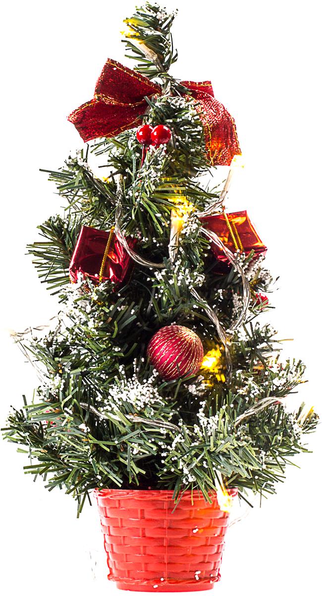 Елка настольная c игрушками и гирляндой Vita Pelle, 30 см. K11EL1806K11EL1806Милая наряженная елочка в корзинке украшена игрушками, мишурой и гирляндой. Она будет уместна и дома, и в офисе. Весело подмигивая всеми своими огоньками, она преобразит пространство, подарив праздник и новогоднее настроение.