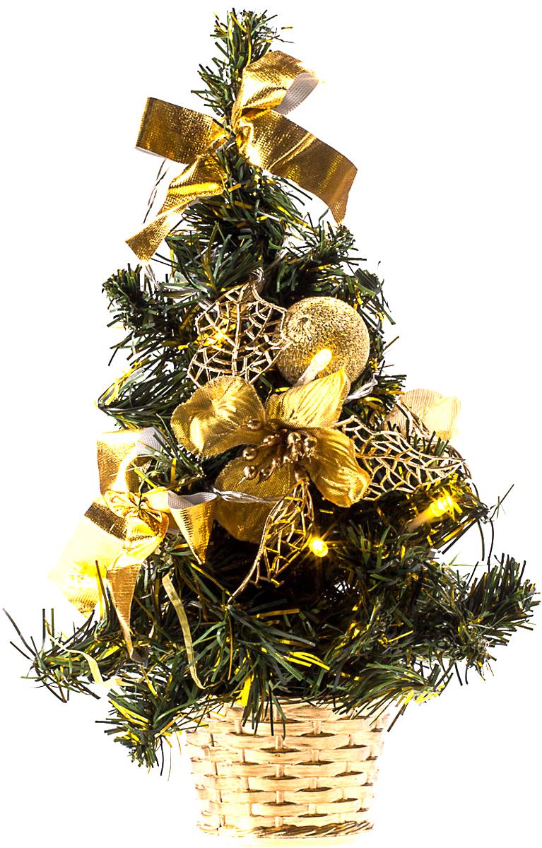 Елка настольная c игрушками и гирляндой Vita Pelle, 30 см. K11EL1809K11EL1809Милая наряженная елочка в корзинке украшена игрушками, мишурой и гирляндой. Она будет уместна и дома, и в офисе. Весело подмигивая всеми своими огоньками, она преобразит пространство, подарив праздник и новогоднее настроение.