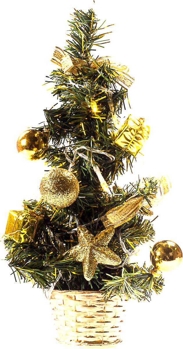 Елка настольная c игрушками и гирляндой Vita Pelle, 30 см. K11EL1810K11EL1810Милая наряженная елочка в корзинке украшена игрушками, мишурой и гирляндой. Она будет уместна и дома, и в офисе. Весело подмигивая всеми своими огоньками, она преобразит пространство, подарив праздник и новогоднее настроение.