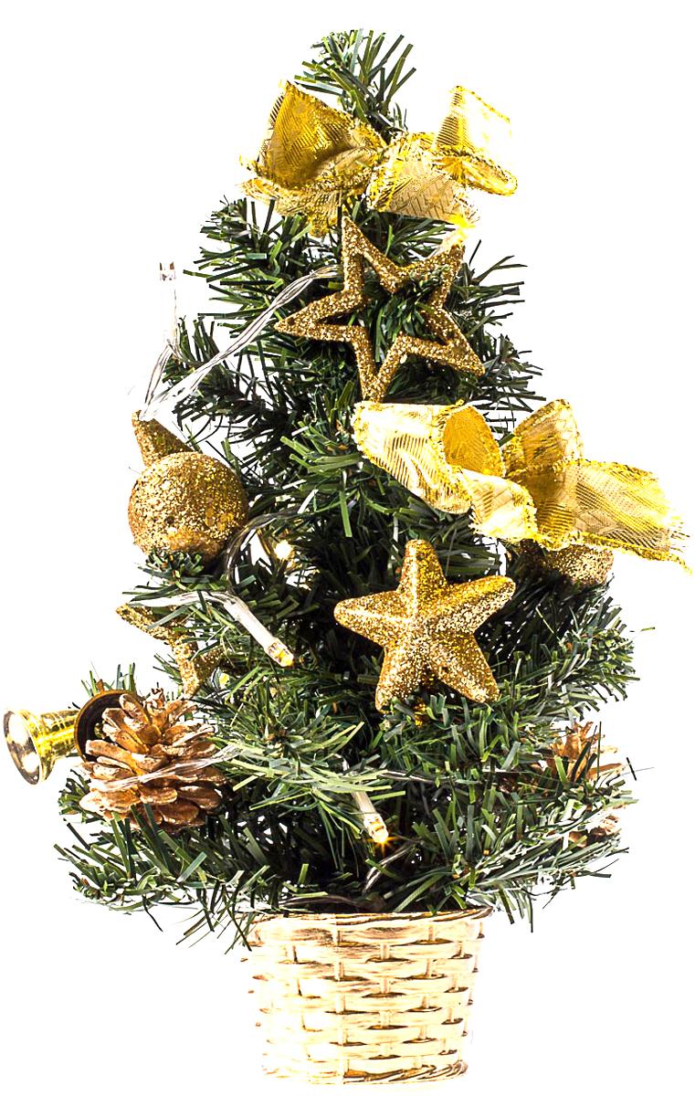 Елка настольная c игрушками и гирляндой Vita Pelle, 30 см. K11EL1814K11EL1814Милая наряженная елочка в корзинке украшена игрушками, мишурой и гирляндой. Она будет уместна и дома, и в офисе. Весело подмигивая всеми своими огоньками, она преобразит пространство, подарив праздник и новогоднее настроение.