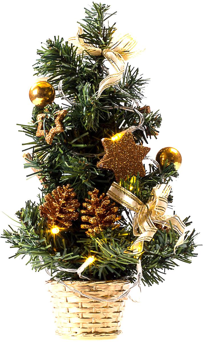 Елка настольная c игрушками и гирляндой Vita Pelle, 30 см. K11EL1816K11EL3005Милая наряженная елочка в корзинке украшена игрушками, мишурой и гирляндой. Она будет уместна и дома, и в офисе. Весело подмигивая всеми своими огоньками, она преобразит пространство, подарив праздник и новогоднее настроение.