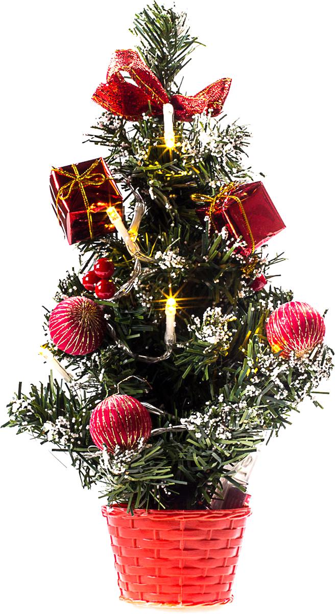Елка настольная c игрушками и гирляндой Vita Pelle, 30 см. K11EL1819K11EL1819Милая наряженная елочка в корзинке украшена игрушками, мишурой и гирляндой. Она будет уместна и дома, и в офисе. Весело подмигивая всеми своими огоньками, она преобразит пространство, подарив праздник и новогоднее настроение.