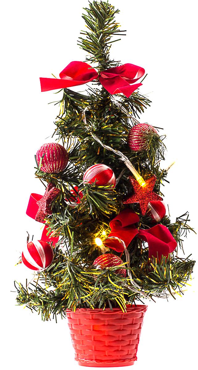 Елка настольная c игрушками и гирляндой Vita Pelle, 30 см. K11EL1821K11EL1821Милая наряженная елочка в корзинке украшена игрушками, мишурой и гирляндой. Она будет уместна и дома, и в офисе. Весело подмигивая всеми своими огоньками, она преобразит пространство, подарив праздник и новогоднее настроение.