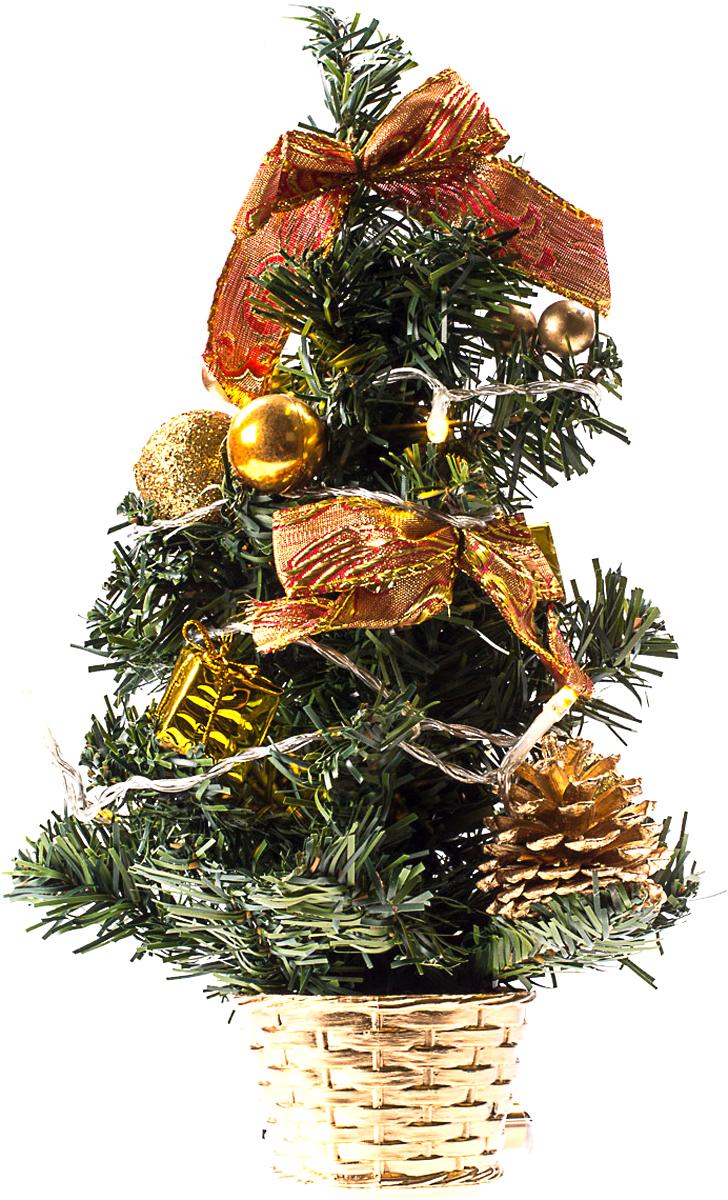 Елка настольная c игрушками и гирляндой Vita Pelle, 30 см. K11EL1823K11EL1823Милая наряженная елочка в корзинке украшена игрушками, мишурой и гирляндой. Она будет уместна и дома, и в офисе. Весело подмигивая всеми своими огоньками, она преобразит пространство, подарив праздник и новогоднее настроение.