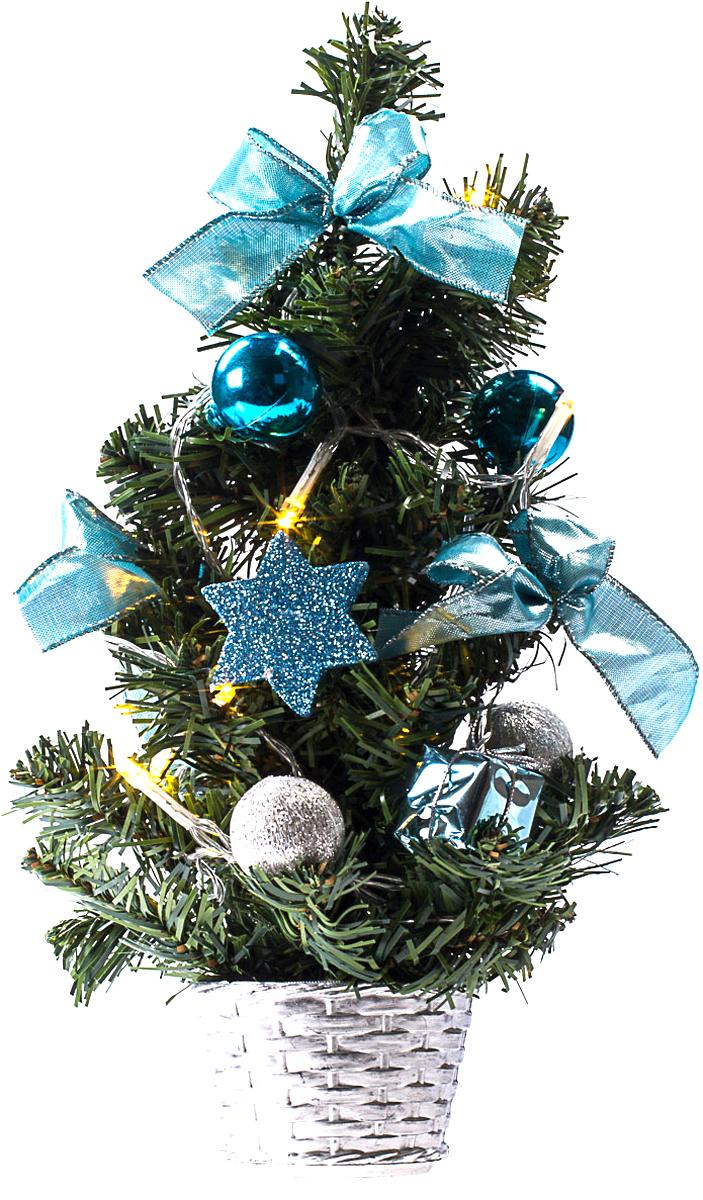 Елка настольная c игрушками и гирляндой Vita Pelle, 30 см. K11EL1824K11EL1824Милая наряженная елочка в корзинке украшена игрушками, мишурой и гирляндой. Она будет уместна и дома, и в офисе. Весело подмигивая всеми своими огоньками, она преобразит пространство, подарив праздник и новогоднее настроение.