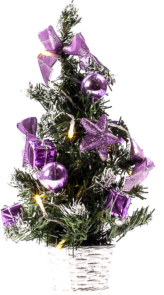 Елка настольная c игрушками и гирляндой Vita Pelle, 30 см. K11EL1826K11EL1826Милая наряженная елочка в корзинке украшена игрушками, мишурой и гирляндой. Она будет уместна и дома, и в офисе. Весело подмигивая всеми своими огоньками, она преобразит пространство, подарив праздник и новогоднее настроение.