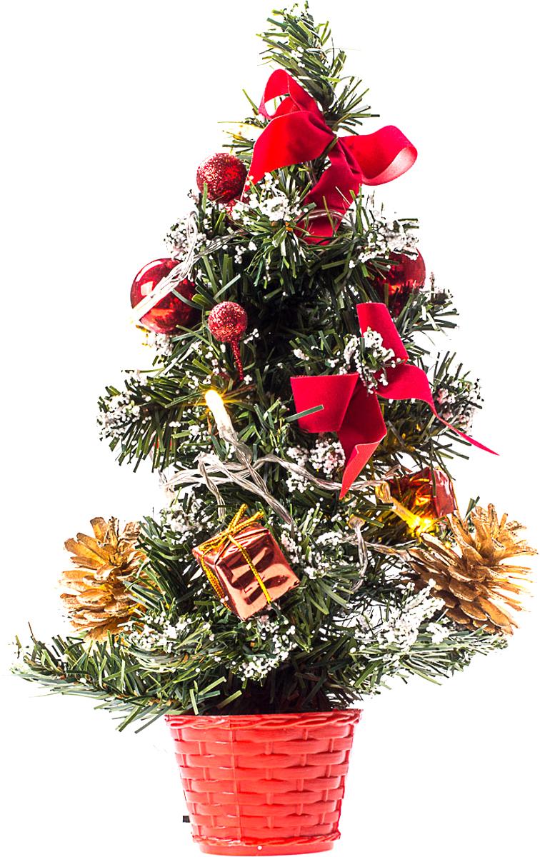 Елка настольная c игрушками и гирляндой Vita Pelle, 30 см. K11EL1829K11EL1829Милая наряженная елочка в корзинке украшена игрушками, мишурой и гирляндой. Она будет уместна и дома, и в офисе. Весело подмигивая всеми своими огоньками, она преобразит пространство, подарив праздник и новогоднее настроение.