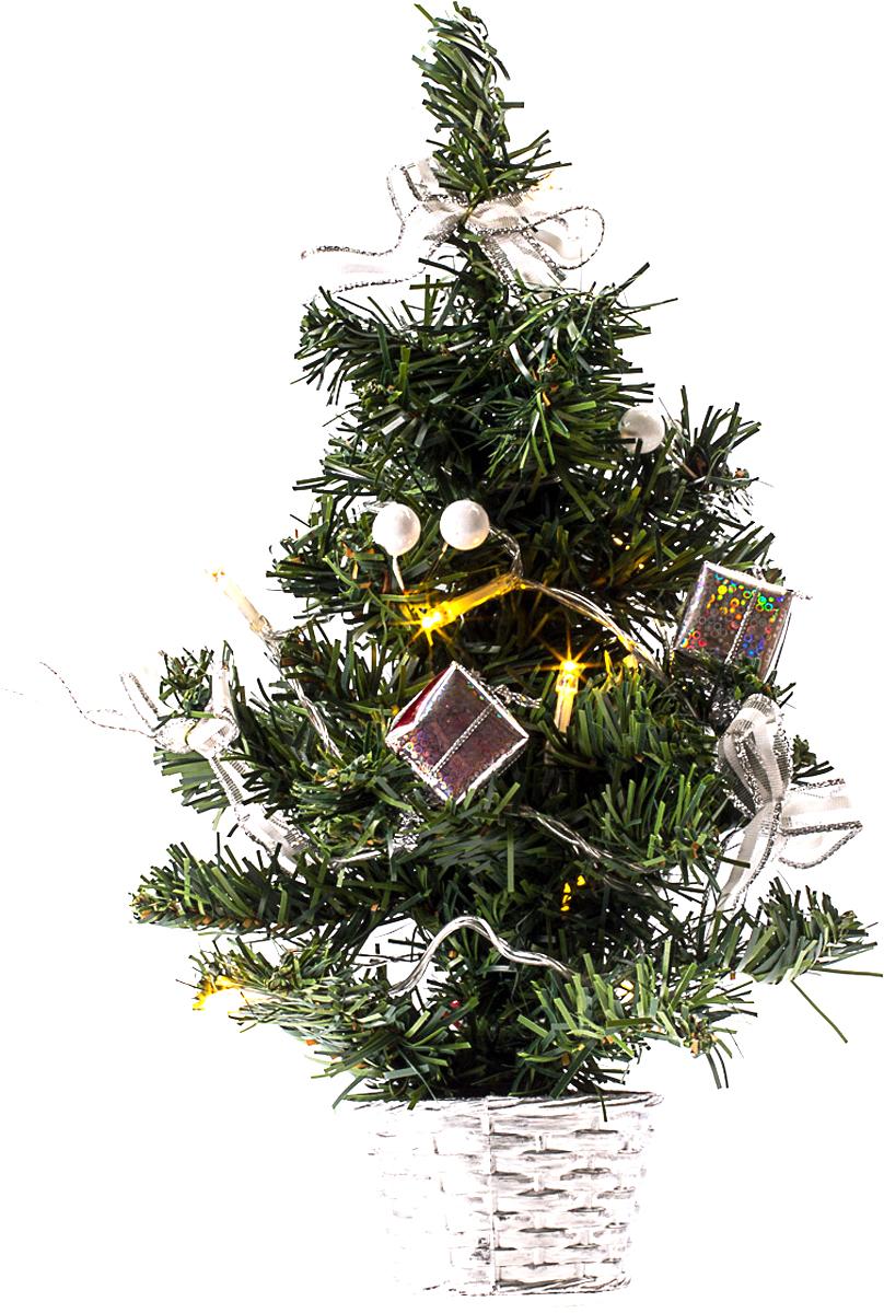 Елка настольная c игрушками и гирляндой Vita Pelle, 30 см. K11EL1834K11EL1834Милая наряженная елочка в корзинке украшена игрушками, мишурой и гирляндой. Она будет уместна и дома, и в офисе. Весело подмигивая всеми своими огоньками, она преобразит пространство, подарив праздник и новогоднее настроение.