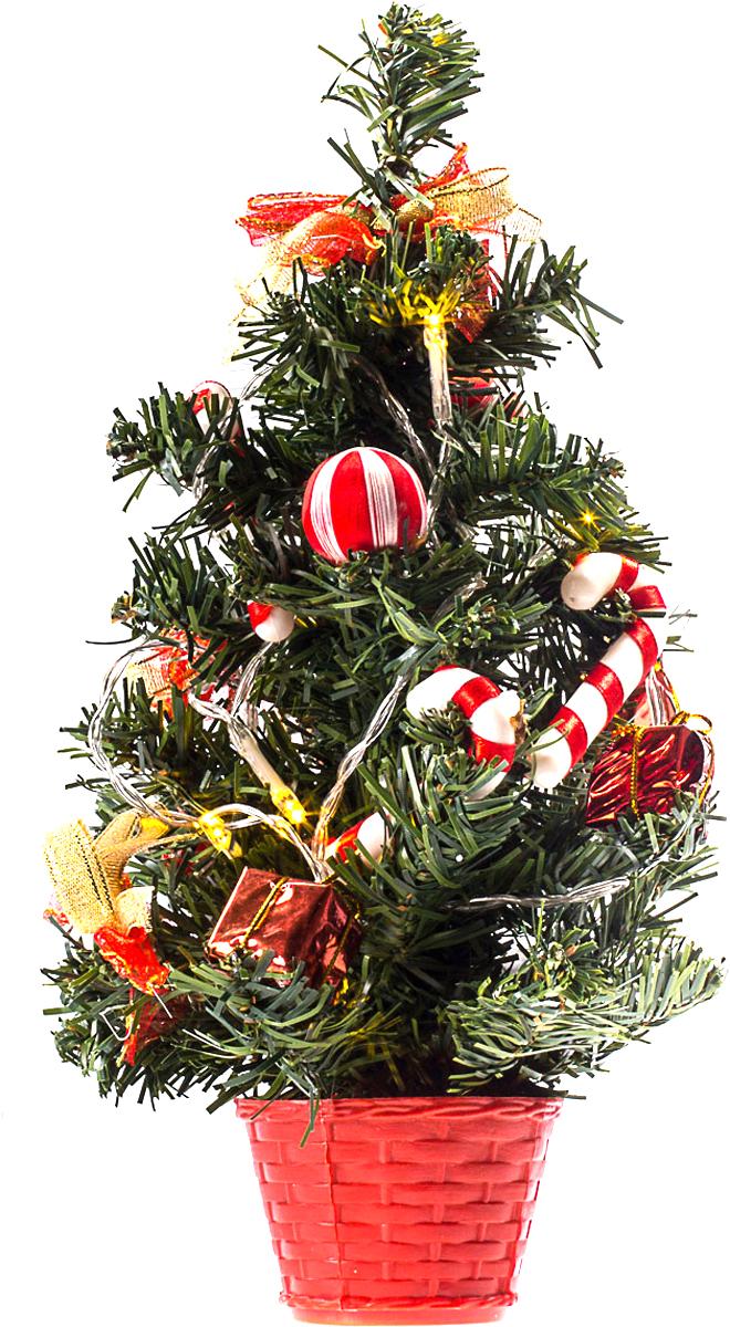 Елка настольная c игрушками и гирляндой Vita Pelle, 30 см. K11EL1836K11EL1836Милая наряженная елочка в корзинке украшена игрушками, мишурой и гирляндой. Она будет уместна и дома, и в офисе. Весело подмигивая всеми своими огоньками, она преобразит пространство, подарив праздник и новогоднее настроение.