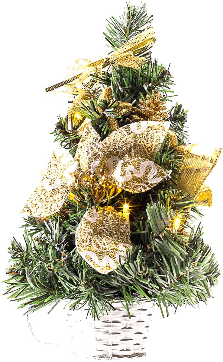 Елка настольная c игрушками и гирляндой Vita Pelle, 30 см. K11EL1838K11EL1838Милая наряженная елочка в корзинке украшена игрушками, мишурой и гирляндой. Она будет уместна и дома, и в офисе. Весело подмигивая всеми своими огоньками, она преобразит пространство, подарив праздник и новогоднее настроение.