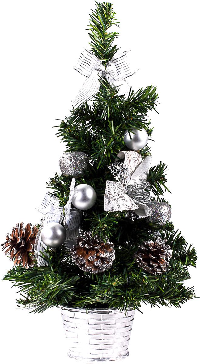 Елка настольная c игрушками Vita Pelle, 40 см. K11EL1911K11EL1911Милая наряженная елочка в корзинке украшена игрушками и мишурой. Она будет уместна и дома, и в офисе. Она преобразит пространство, подарив праздник и новогоднее настроение. Небольшой размер елочки позволит разместить ее где угодно.