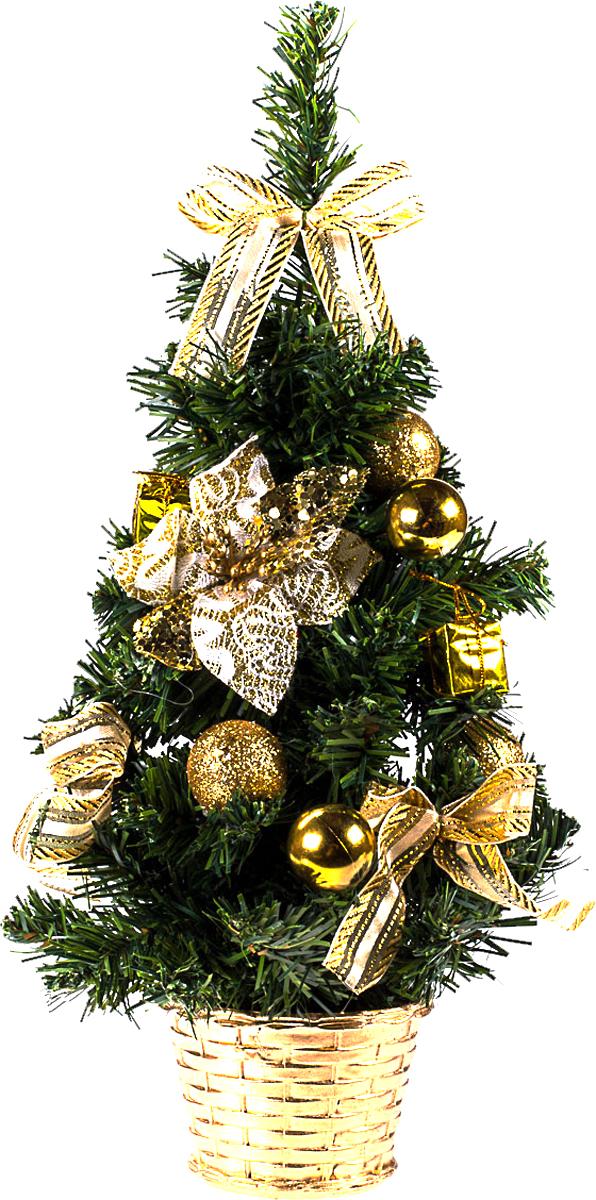 Елка настольная c игрушками Vita Pelle, 40 см. K11EL1919K11EL1919Милая наряженная елочка в корзинке украшена игрушками и мишурой. Она будет уместна и дома, и в офисе. Она преобразит пространство, подарив праздник и новогоднее настроение. Небольшой размер елочки позволит разместить ее где угодно.