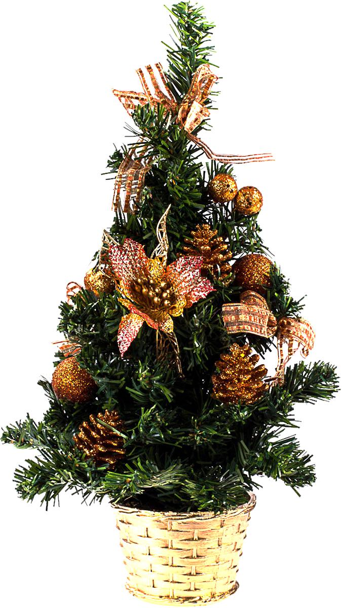 Елка настольная c игрушками Vita Pelle, 40 см. K11EL1922K11EL1922Милая наряженная елочка в корзинке украшена игрушками и мишурой. Она будет уместна и дома, и в офисе. Она преобразит пространство, подарив праздник и новогоднее настроение. Небольшой размер елочки позволит разместить ее где угодно.