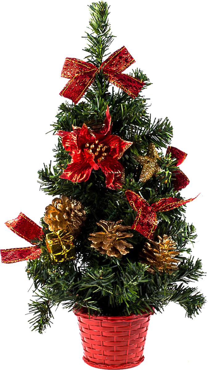 Елка настольная c игрушками Vita Pelle, 40 см. K11EL1937K11EL1937Милая наряженная елочка в корзинке украшена игрушками и мишурой. Она будет уместна и дома, и в офисе. Она преобразит пространство, подарив праздник и новогоднее настроение. Небольшой размер елочки позволит разместить ее где угодно.