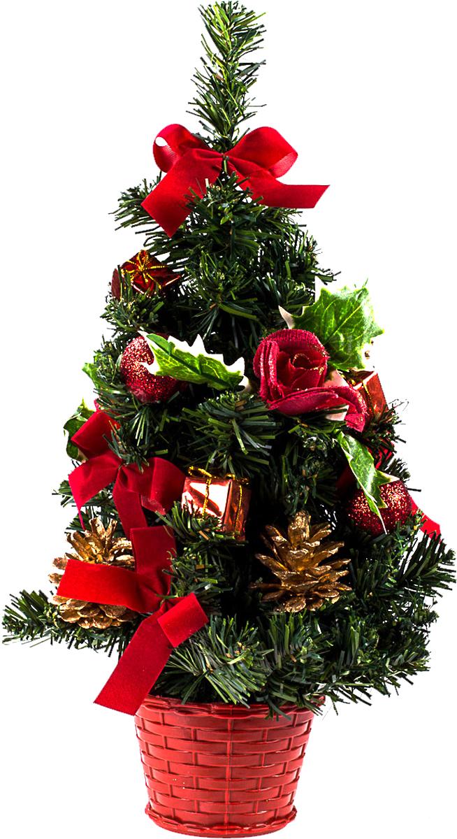 Елка настольная c игрушками Vita Pelle, 40 см. K11EL1939K11EL1939Милая наряженная елочка в корзинке украшена игрушками и мишурой. Она будет уместна и дома, и в офисе. Она преобразит пространство, подарив праздник и новогоднее настроение. Небольшой размер елочки позволит разместить ее где угодно.