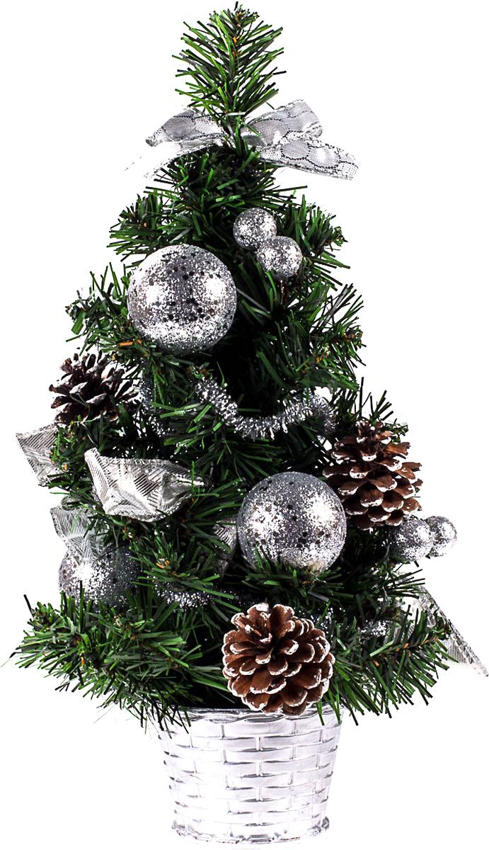 Елка настольная c игрушками Vita Pelle, 40 см. K11EL1943K11EL1943Милая наряженная елочка в корзинке украшена игрушками и мишурой. Она будет уместна и дома, и в офисе. Она преобразит пространство, подарив праздник и новогоднее настроение. Небольшой размер елочки позволит разместить ее где угодно.