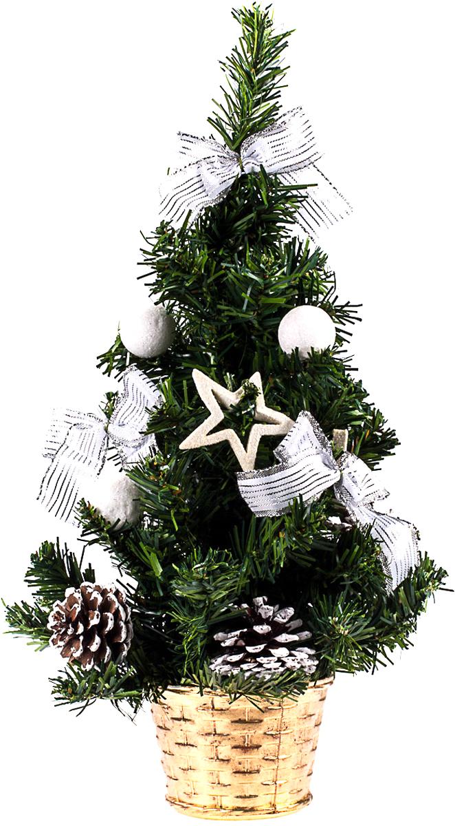 Елка настольная c игрушками Vita Pelle, 40 см. K11EL1953K11EL1953Милая наряженная елочка в корзинке украшена игрушками и мишурой. Она будет уместна и дома, и в офисе. Она преобразит пространство, подарив праздник и новогоднее настроение. Небольшой размер елочки позволит разместить ее где угодно.