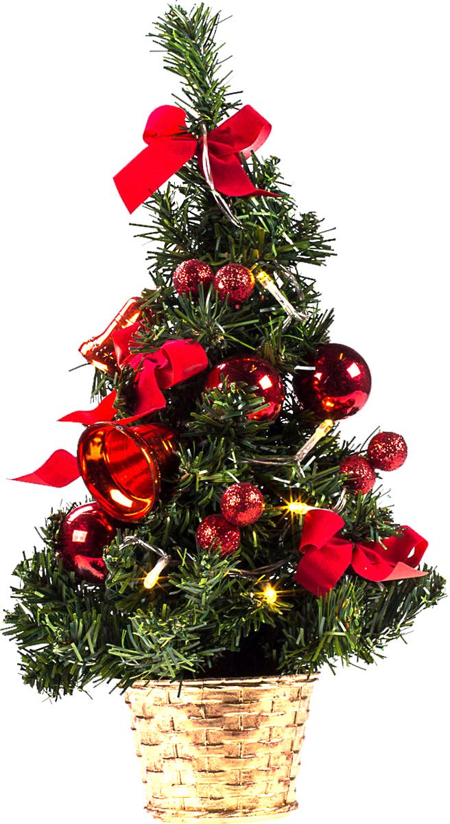 Елка настольная c игрушками и гирляндой Vita Pelle, 40 см. K11EL2002K11EL2002Милая наряженная елочка в корзинке украшена игрушками, мишурой и гирляндой. Она будет уместна и дома, и в офисе. Весело подмигивая всеми своими огоньками, она преобразит пространство, подарив праздник и новогоднее настроение.