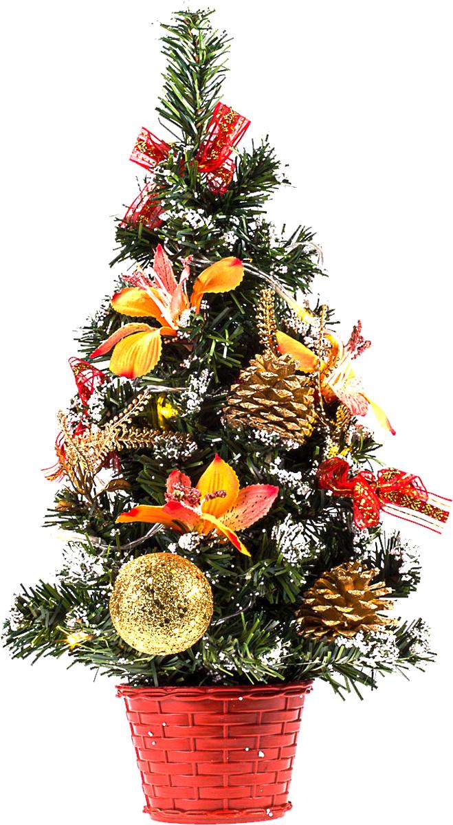 Елка настольная c игрушками и гирляндой Vita Pelle, 40 см. K11EL2003K11EL2003Милая наряженная елочка в корзинке украшена игрушками, мишурой и гирляндой. Она будет уместна и дома, и в офисе. Весело подмигивая всеми своими огоньками, она преобразит пространство, подарив праздник и новогоднее настроение.