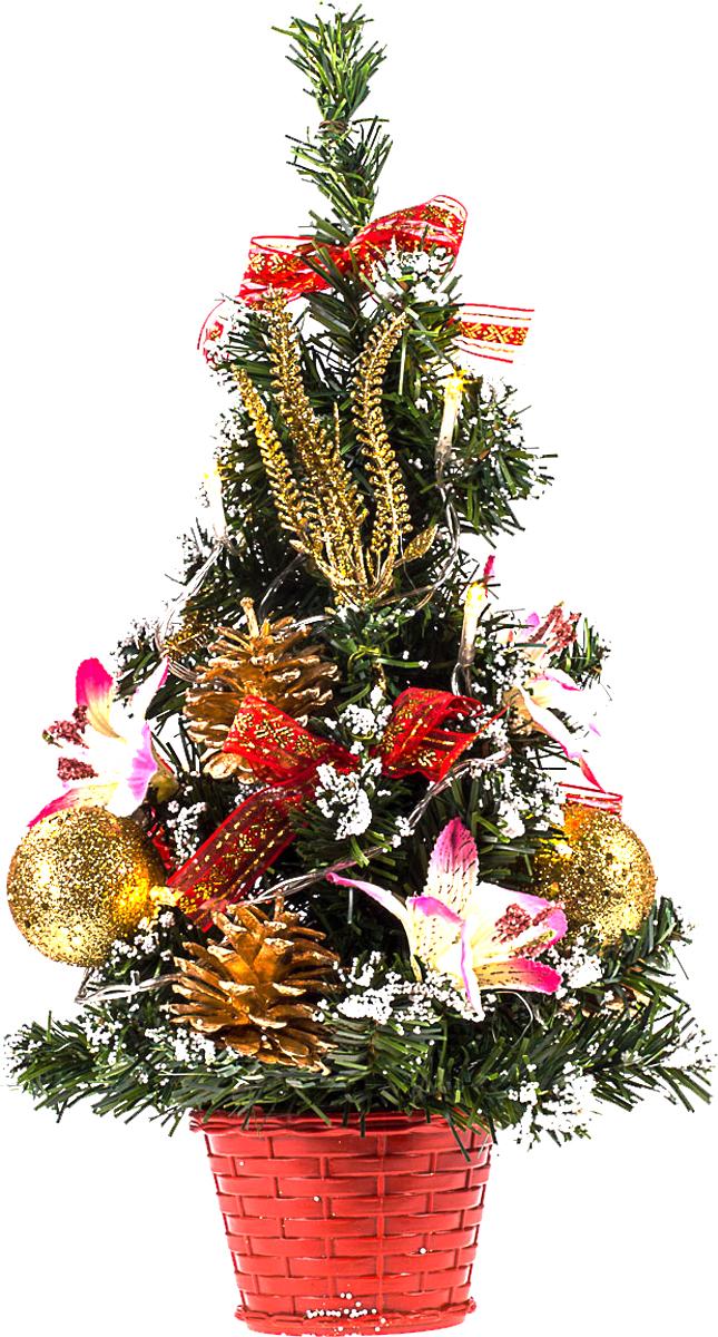 Елка настольная c игрушками и гирляндой Vita Pelle, 40 см. K11EL2006K11EL2006Милая наряженная елочка в корзинке украшена игрушками, мишурой и гирляндой. Она будет уместна и дома, и в офисе. Весело подмигивая всеми своими огоньками, она преобразит пространство, подарив праздник и новогоднее настроение.