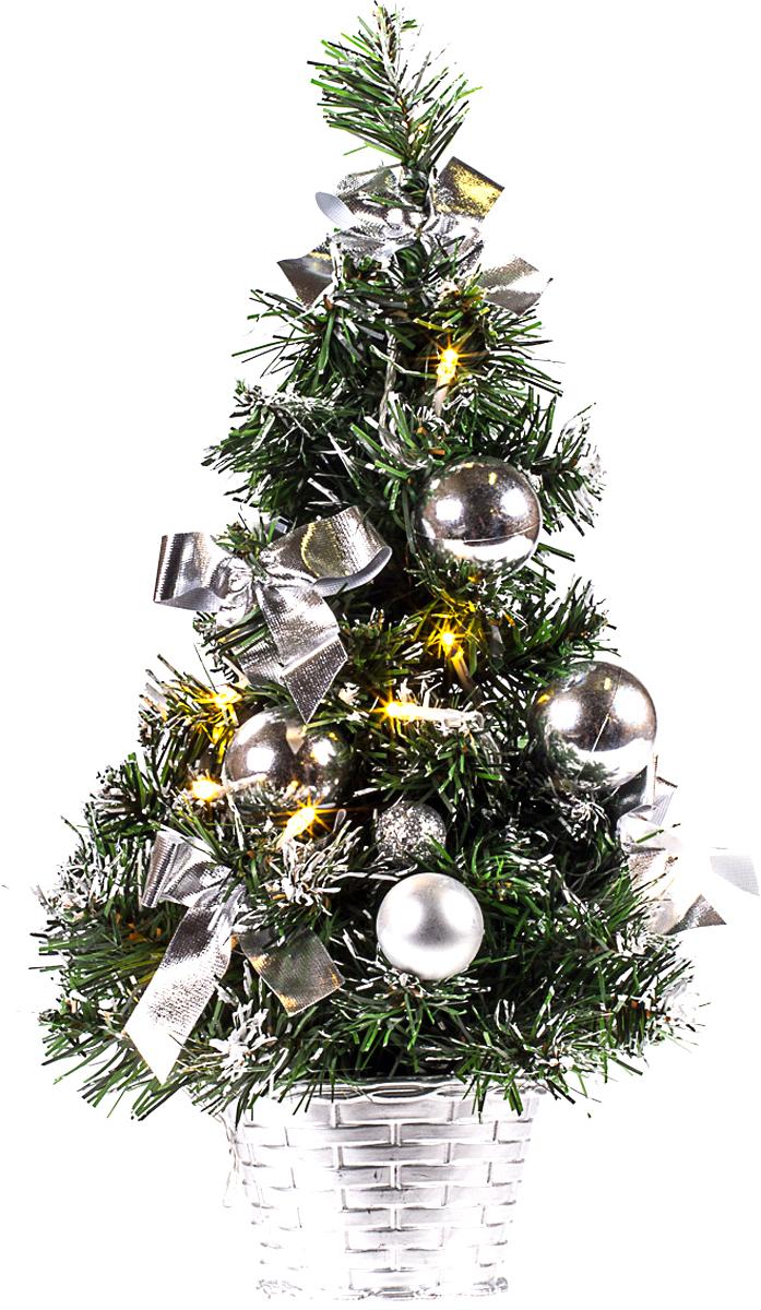 Елка настольная c игрушками и гирляндой Vita Pelle, 40 см. K11EL2007K11EL2007Милая наряженная елочка в корзинке украшена игрушками, мишурой и гирляндой. Она будет уместна и дома, и в офисе. Весело подмигивая всеми своими огоньками, она преобразит пространство, подарив праздник и новогоднее настроение.