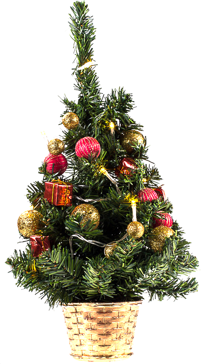 Елка настольная c игрушками и гирляндой Vita Pelle, 40 см. K11EL2011K11EL2011Милая наряженная елочка в корзинке украшена игрушками, мишурой и гирляндой. Она будет уместна и дома, и в офисе. Весело подмигивая всеми своими огоньками, она преобразит пространство, подарив праздник и новогоднее настроение.
