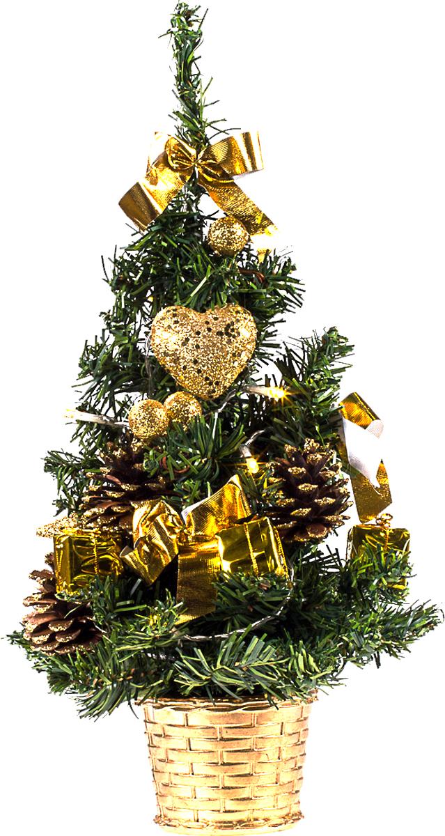 Елка настольная c игрушками и гирляндой Vita Pelle, 40 см. K11EL2012K11EL2012Милая наряженная елочка в корзинке украшена игрушками, мишурой и гирляндой. Она будет уместна и дома, и в офисе. Весело подмигивая всеми своими огоньками, она преобразит пространство, подарив праздник и новогоднее настроение.