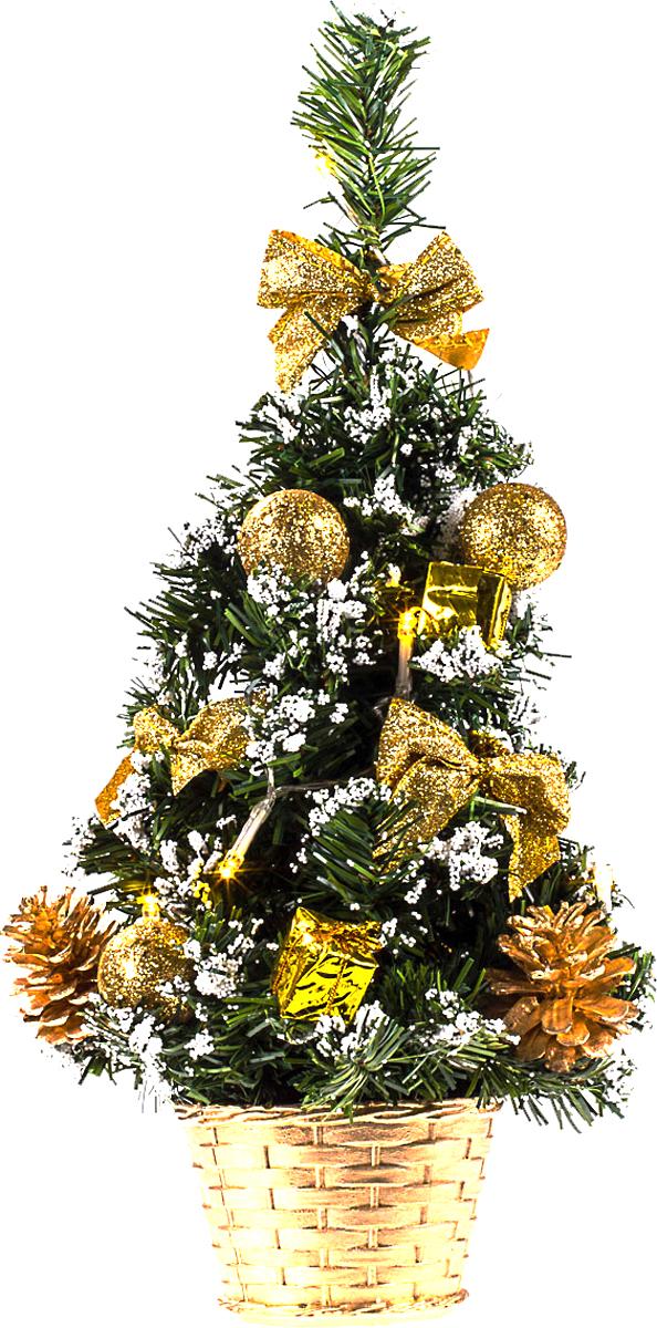 Елка настольная c игрушками и гирляндой Vita Pelle, 40 см. K11EL2013K11EL2013Милая наряженная елочка в корзинке украшена игрушками, мишурой и гирляндой. Она будет уместна и дома, и в офисе. Весело подмигивая всеми своими огоньками, она преобразит пространство, подарив праздник и новогоднее настроение.