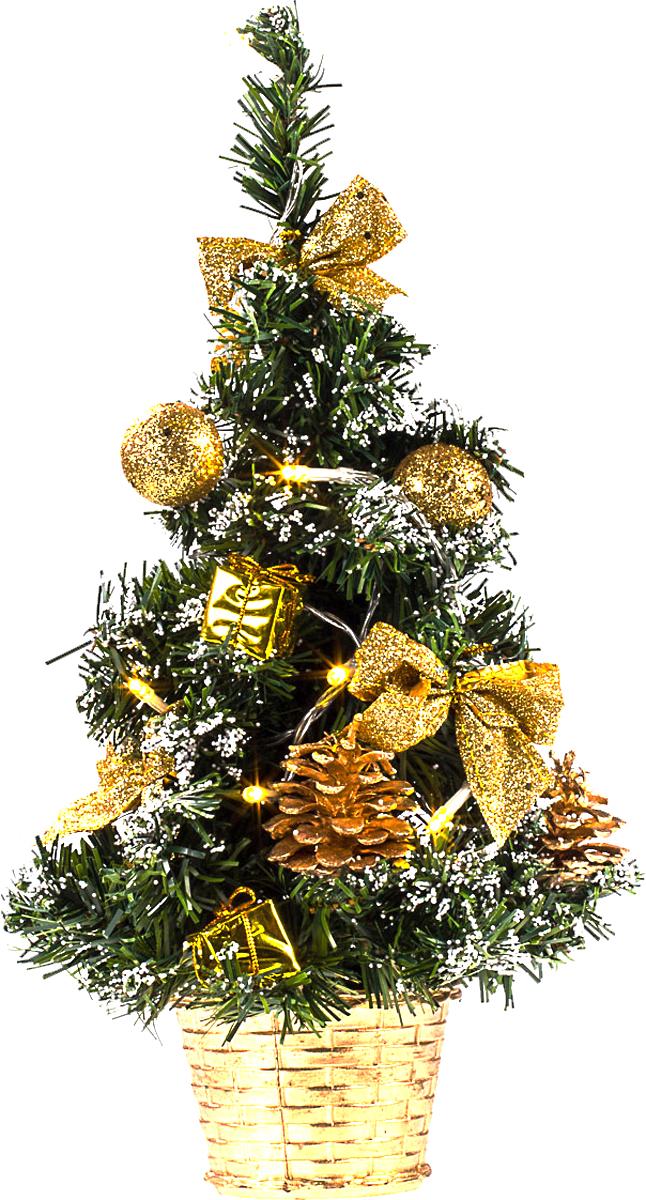Елка настольная c игрушками и гирляндой Vita Pelle, 40 см. K11EL2015K11EL2015Милая наряженная елочка в корзинке украшена игрушками, мишурой и гирляндой. Она будет уместна и дома, и в офисе. Весело подмигивая всеми своими огоньками, она преобразит пространство, подарив праздник и новогоднее настроение.