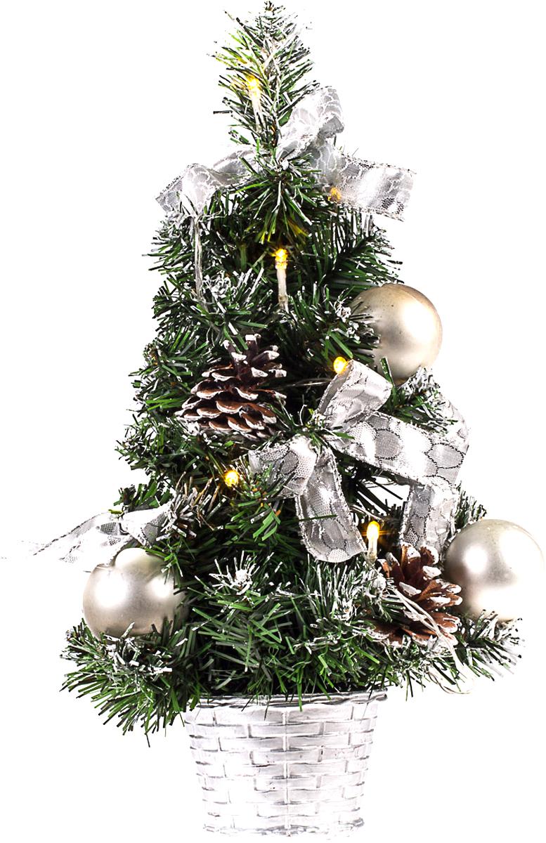 Елка настольная c игрушками и гирляндой Vita Pelle, 40 см. K11EL2016K11EL2016Милая наряженная елочка в корзинке украшена игрушками, мишурой и гирляндой. Она будет уместна и дома, и в офисе. Весело подмигивая всеми своими огоньками, она преобразит пространство, подарив праздник и новогоднее настроение.