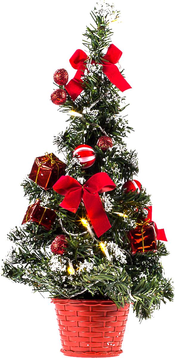 Елка настольная c игрушками и гирляндой Vita Pelle, 40 см. K11EL2017K11EL2017Милая наряженная елочка в корзинке украшена игрушками, мишурой и гирляндой. Она будет уместна и дома, и в офисе. Весело подмигивая всеми своими огоньками, она преобразит пространство, подарив праздник и новогоднее настроение.