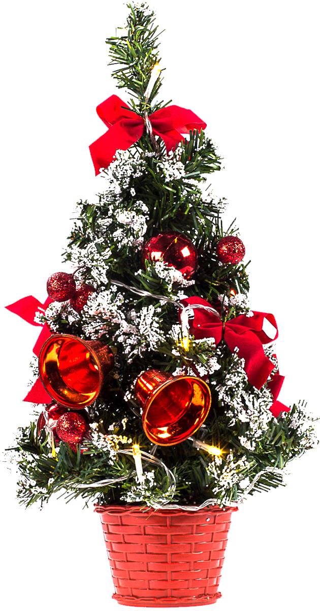 Елка настольная c игрушками и гирляндой Vita Pelle, 40 см. K11EL2018K11EL2018Милая наряженная елочка в корзинке украшена игрушками, мишурой и гирляндой. Она будет уместна и дома, и в офисе. Весело подмигивая всеми своими огоньками, она преобразит пространство, подарив праздник и новогоднее настроение.