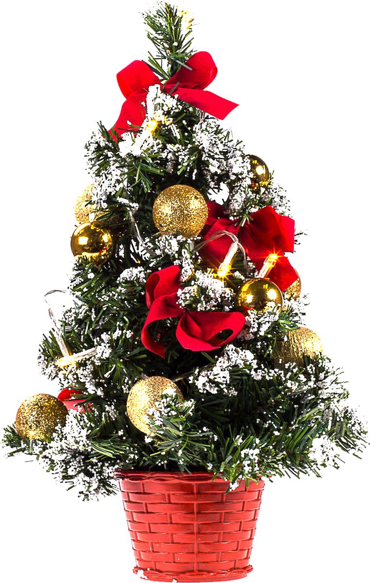Елка настольная c игрушками и гирляндой Vita Pelle, 40 см. K11EL2019K11EL2019Милая наряженная елочка в корзинке украшена игрушками, мишурой и гирляндой. Она будет уместна и дома, и в офисе. Весело подмигивая всеми своими огоньками, она преобразит пространство, подарив праздник и новогоднее настроение.