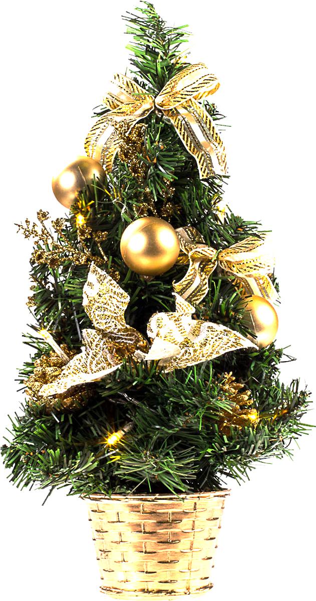 Елка настольная c игрушками и гирляндой Vita Pelle, 40 см. K11EL2021K11EL2021Милая наряженная елочка в корзинке украшена игрушками, мишурой и гирляндой. Она будет уместна и дома, и в офисе. Весело подмигивая всеми своими огоньками, она преобразит пространство, подарив праздник и новогоднее настроение.