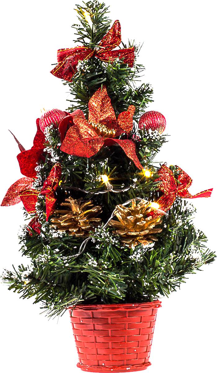 Елка настольная c игрушками и гирляндой Vita Pelle, 40 см. K11EL2022K11EL2022Милая наряженная елочка в корзинке украшена игрушками, мишурой и гирляндой. Она будет уместна и дома, и в офисе. Весело подмигивая всеми своими огоньками, она преобразит пространство, подарив праздник и новогоднее настроение.