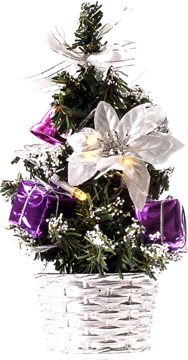 Елка настольная c игрушками и гирляндой Vita Pelle, 20 см. K11EL3002K11EL3002Милая наряженная елочка в корзинке украшена игрушками, мишурой и гирляндой. Она будет уместна и дома, и в офисе. Весело подмигивая всеми своими огоньками, она преобразит пространство, подарив праздник и новогоднее настроение.