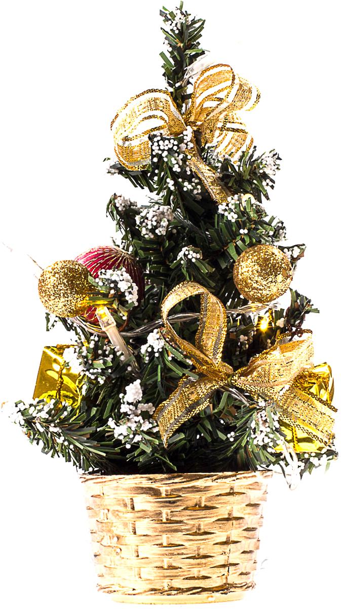Елка настольная c игрушками и гирляндой Vita Pelle, 20 см. K11EL3003K11EL3003Милая наряженная елочка в корзинке украшена игрушками, мишурой и гирляндой. Она будет уместна и дома, и в офисе. Весело подмигивая всеми своими огоньками, она преобразит пространство, подарив праздник и новогоднее настроение.