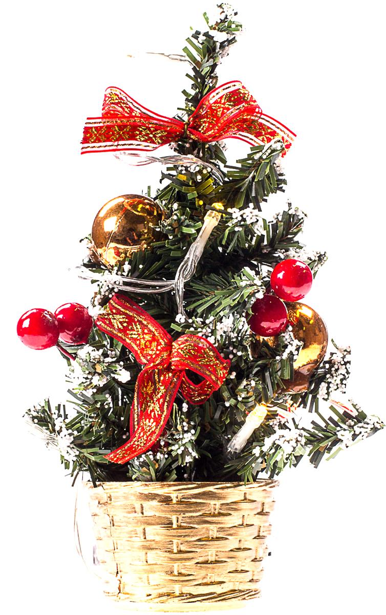 Елка настольная c игрушками и гирляндой Vita Pelle, 20 см. K11EL3004K11EL3004Милая наряженная елочка в корзинке украшена игрушками, мишурой и гирляндой. Она будет уместна и дома, и в офисе. Весело подмигивая всеми своими огоньками, она преобразит пространство, подарив праздник и новогоднее настроение.