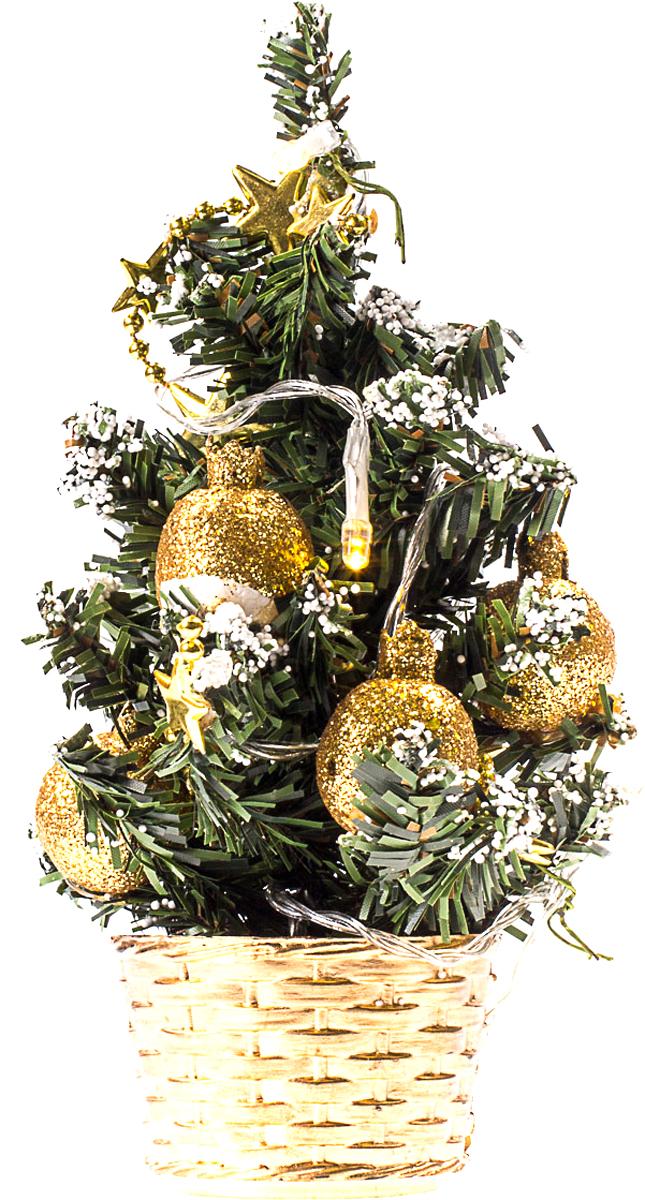 Елка настольная c игрушками и гирляндой Vita Pelle, 20 см. K11EL3005K11EL3005Милая наряженная елочка в корзинке украшена игрушками, мишурой и гирляндой. Она будет уместна и дома, и в офисе. Весело подмигивая всеми своими огоньками, она преобразит пространство, подарив праздник и новогоднее настроение.