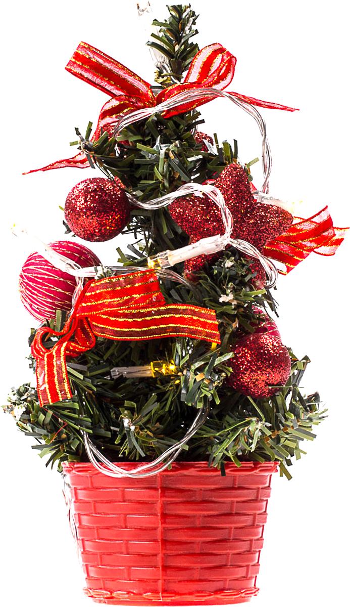Елка настольная c игрушками и гирляндой Vita Pelle, 20 см. K11EL3007K11EL3007Милая наряженная елочка в корзинке украшена игрушками, мишурой и гирляндой. Она будет уместна и дома, и в офисе. Весело подмигивая всеми своими огоньками, она преобразит пространство, подарив праздник и новогоднее настроение.